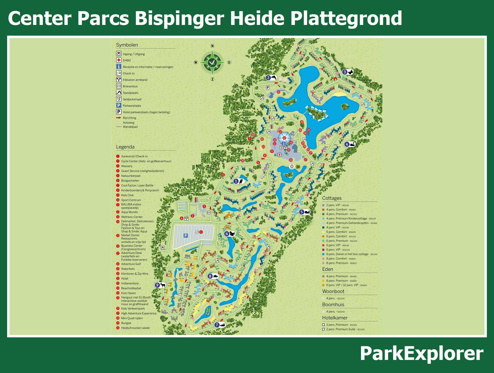 px park plattegrond van center parcs bispinger heide. Black Bedroom Furniture Sets. Home Design Ideas