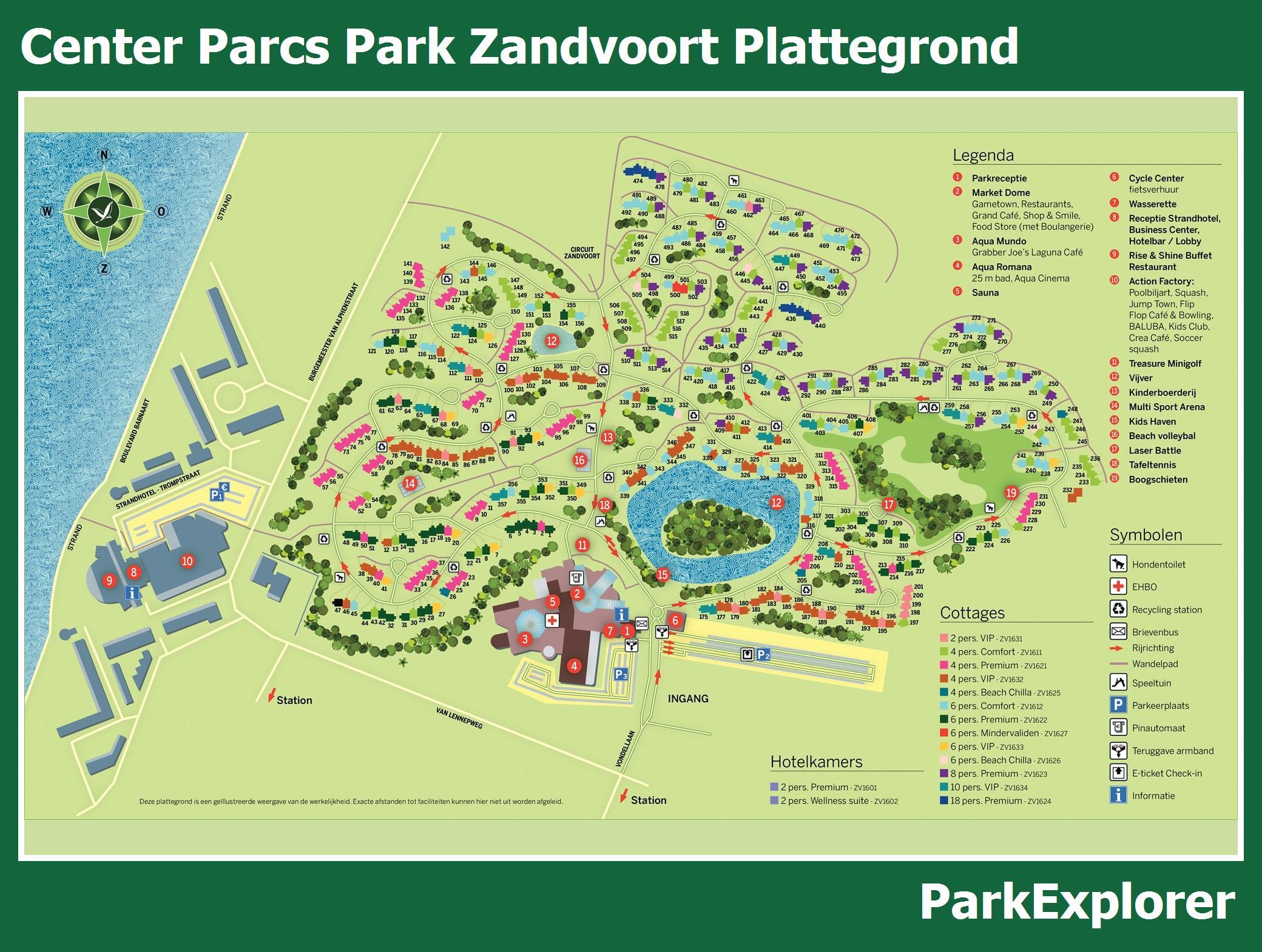 Center Parcs Zandvoort Zwembad.Px Park Plattegrond Van Center Parcs Park Zandvoort Parkexplorer Nl